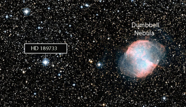 Wide-field view of HD 189733b and surroundings (DSS2 excerpt, gr