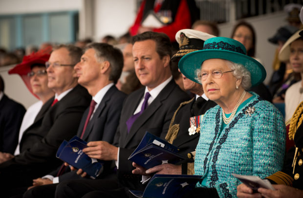 Her Majesty the Queen and the UK PM David Cameron attend the launching ceremony of the HMS Queen Elizabeth, the UK's latest air craft carrier.a