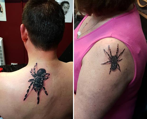 Тату в виде пауков и пчёл с 3D-эффектом Разное,Человек,тату,тату 3d