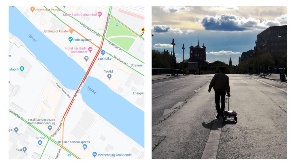 Немецкий художник с помощью тележки с 99 смартфонами создал виртуальные пробки в Google Maps Интернет,google maps,пробки,смартфон