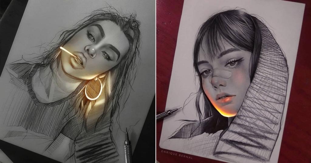 Магия?! Художник заставляет свои карандашные рисунки сиять изнутри!