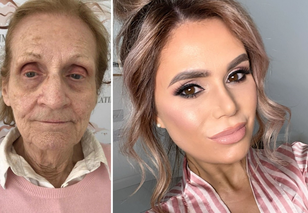 Девушка с помощью косметики омолодила 80-летнюю бабулю на 40 лет