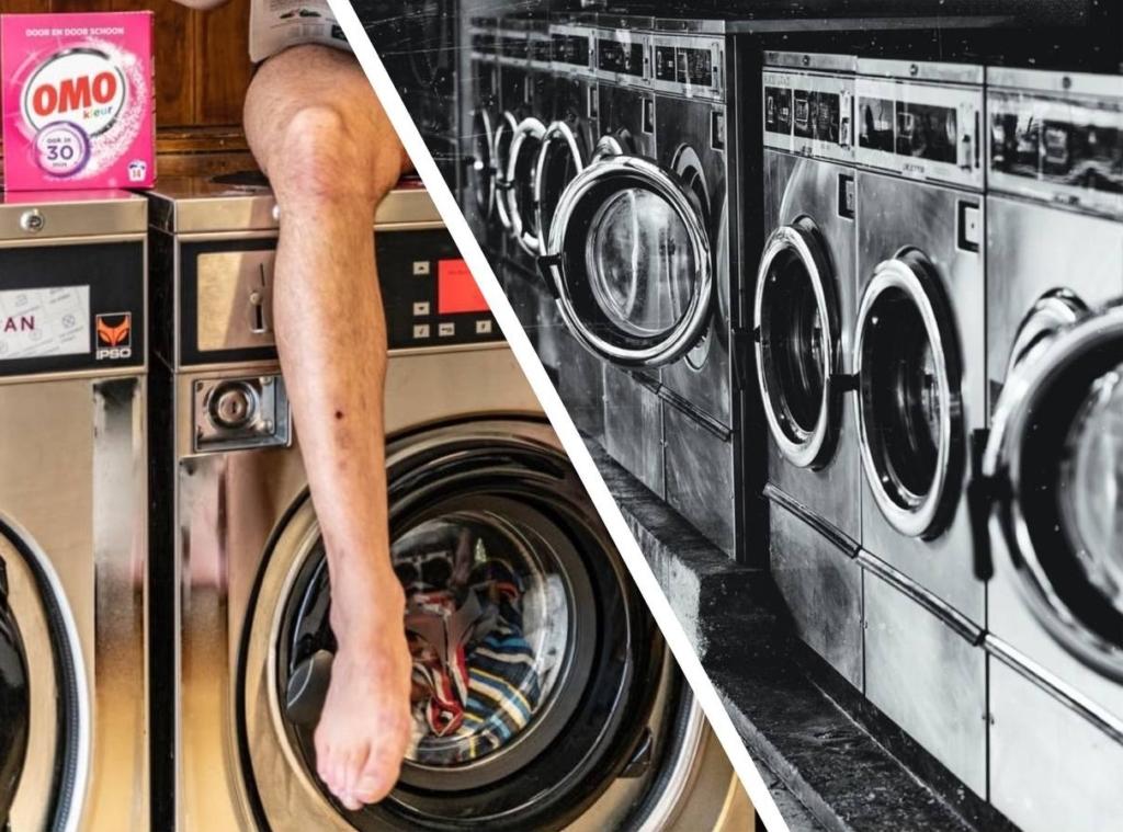 Молодой человек, затеявший стирку, чуть не получил сердечный приступ от увиденного в окне стиральной машины