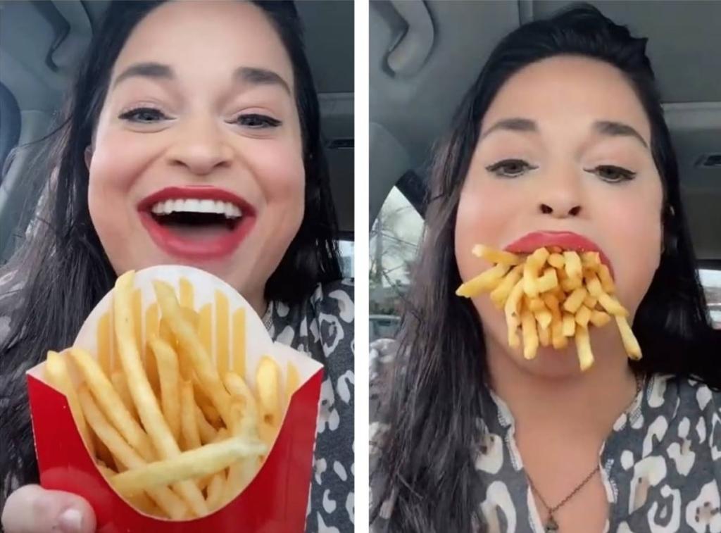 Женщина с огромным ртом показала, как можно съесть порцию картошки-фри из Макдоналдс за пару секунд