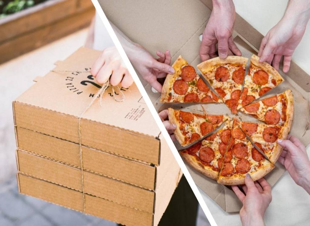 Работник пиццерии показал лайфхак, как украсть часть пиццы у клиента, чтобы тот не заметил пропажу Еда,доставка,лайфхак,пицца