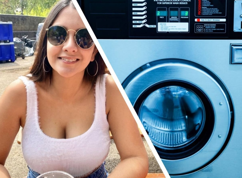Девушка открыла стиральную машинку и увидела дикого гостя, ведь домашних животных у нее не было